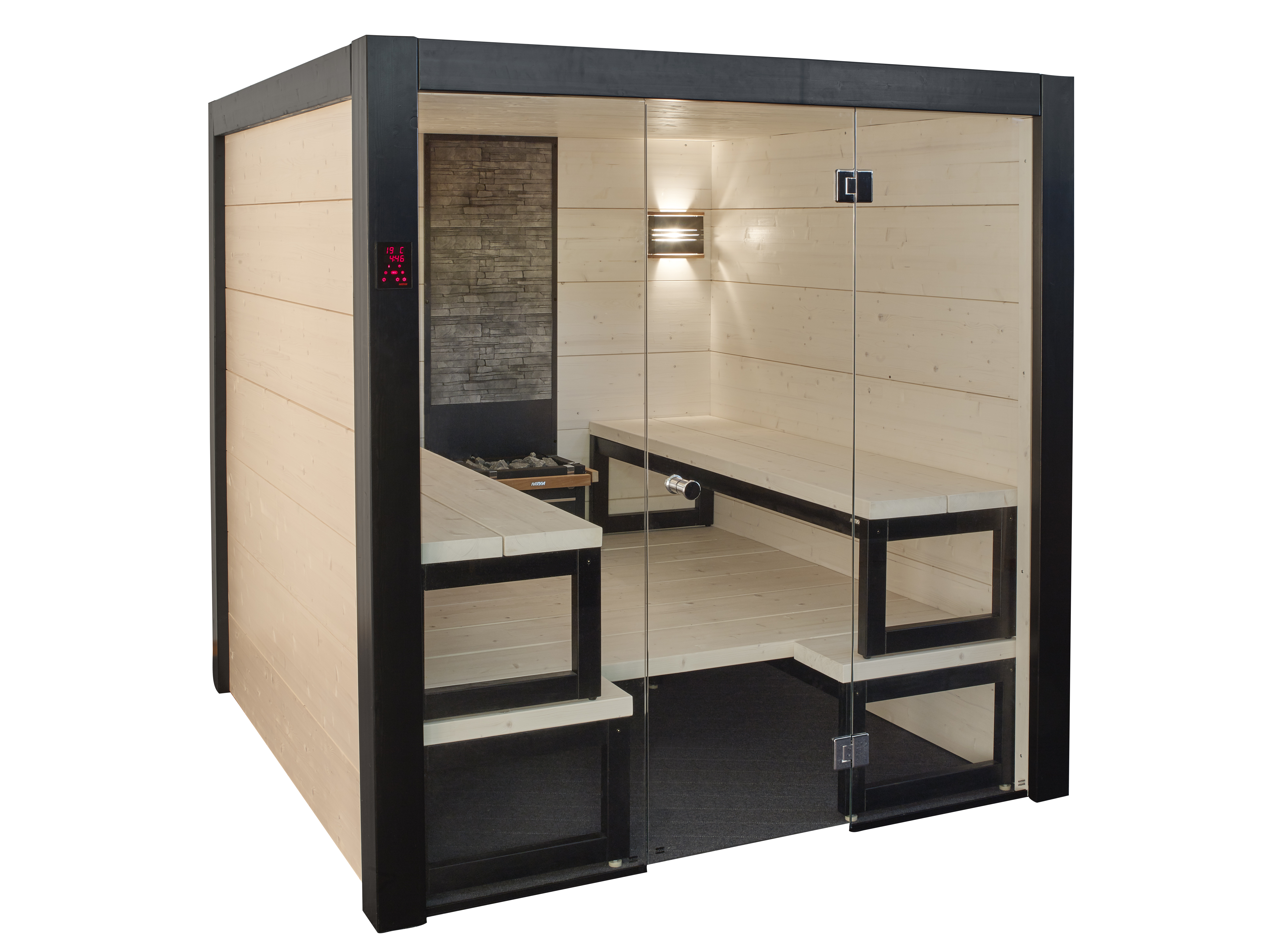 Ready made saunas harvia sauna spa for Indoor sauna plans